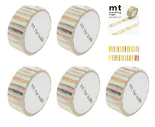 Kamoi Kakoshi MT For Kids Japanese Washi Masking Tape 15mmx7m Shima-Shima Stripe Set of 5 Rolls Made in Japan