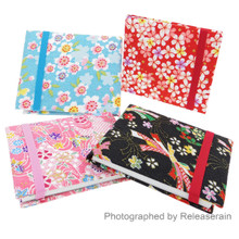 Japanese Kimono Chirimen Fabric Floral Memo Pad Notebook with Elastic Band Closure Set of 4 Made in Japan