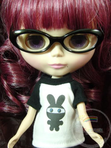 "Releaserain Doll Glasses Black Frame Clear Lens Eyeglasses #A2 For 12"" Blythe Dolls"