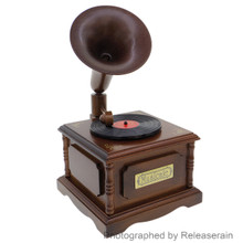 Nidec Sankyo 1:8 Miniature Wooden Gramophone Mechanical Wind-Up Music Box Japan Import