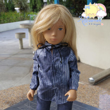 "Lace-Up Collars Puff Long Sleeves Shirt Striped Tie-Dye Blue For 16"" Sasha Doll"