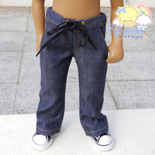 "Releaserain Twill Dark Blue Washed Denim Drawstring Jeans For 16"" Sasha Doll"