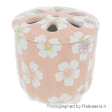 Craftman House Japanese Cherry Blossom Sakura Floral Mini Pottery Porcelain Ceramic Incense Burner Holder Made in Japan