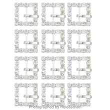 DIY Craft 15mm Silver Metal Square Jeweled Rhinestone Doll Belt Buckle Set of 12pcs