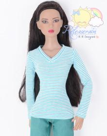 "Doll Clothes V-Neck Glitter Blue with White Stripes Long Sleeves Tee Shirt for 16"" Tonner Tyler Ellowyne Dolls"