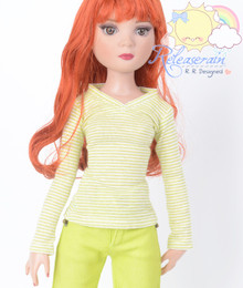 """Doll Clothes V-Neck Glitter Lime with White Stripes Long Sleeves Tee Shirt for 16"""" Tonner Tyler Ellowyne Dolls"""