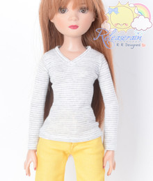 "Doll Clothes V-Neck Glitter Grey with White Stripes Long Sleeves Tee Shirt for 16"" Tonner Tyler Ellowyne Dolls"