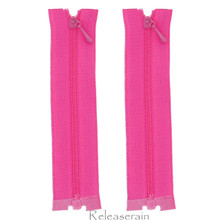 """4"""" Tiny Separating DIY Doll Clothes Jacket Nylon Coil Size #0 Open End Sewing Zippers Fuchsia Pink Set of 2 Pieces"""