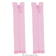"4"" Tiny Separating DIY Doll Clothes Jacket Nylon Coil Size #0 Open End Sewing Zippers Pale Pink Set of 2 Pieces"
