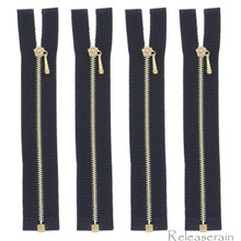 10cm Gold Plated Brass Black Nylon Size 0 Tiny Teeth Open-End Separating Doll Clothes Jacket Sewing Zipper  4 Pieces