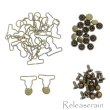 9mm Overall Buckle 4mm Mushroom Rivet Bronze 30 Sets For DIY 1/6 Blythe BJD Doll Clothes