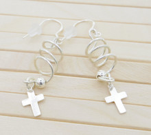Releaserain Artist Handcrafted Jewelry S925 Sterling Silver Wire Coil Bead Corkscrew Spiral Cross Dangle Earrings