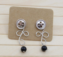 Releaserain Artist Handcrafted Jewelry S925 Sterling Silver Button Stud Copper Wire Loopy Celtic Black Onyx 2-Way Dangle Earrings