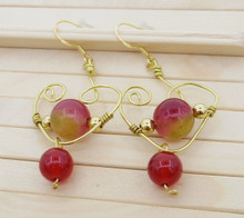 Releaserain Artist Handcrafted Jewelry Natural Watermelon Red Chalcedony Gemstone Gold Brass Copper Wire Heart Dangle Earrings