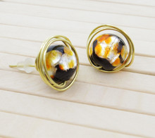 Releaserain Artist Handcrafted Jewelry Silver Foiled Orange Black Glass Bead Gold Brass Copper Wire Wrapped Stud Earrings