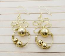 Releaserain Artist Handcrafted Jewelry Gold Brass Copper Wire Celtic Knot Loop Beads Dangle Earrings