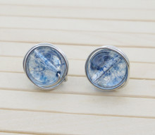 Releaserain Artist Handcrafted Jewelry Natural Blue Crackle Quartz Stone Gemstone Bead Silver Plated Copper Wire Wrapped Stud Earrings