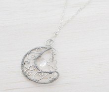 Releaserain Artist Handcrafted Jewelry Silver Plated Copper Wire Wrapped Crescent Moon Star Clear Czech Teardrop Glass Bead Pendant Necklace