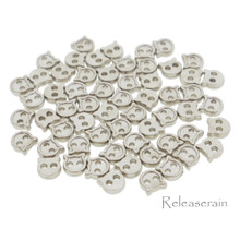 4mm Kitty Cat Shaped DIY  Doll Clothes Sewing Sew On Plated Metal Miniature Buttons Silver 60pcs