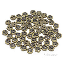 4mm Flower Shaped DIY Doll Clothes Sewing Sew On Plated Metal Miniature Buttons Bronze 60pcs