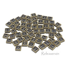 4mm Square Shaped DIY Doll Clothes Sewing Sew On Plated Metal Miniature Buttons Bronze 60pcs