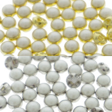 4.5mm DIY Craft Doll Clothes Sewing Sew On Round White Faux Pearl Buttons Gold 25pcs+Silver 25pcs
