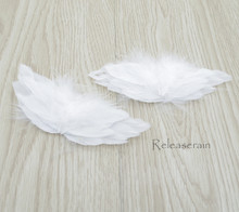 "DIY Doll Craft Supplies 4.5""x2"" Handcrafted White Costume Turkey Feather Fairy Angel Wings Set of 2 Pieces For Dolls"