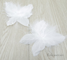 "DIY Doll Craft Supplies 4""x4.5"" Handcrafted White Costume Turkey Feather Fairy Angel Wings Set of 2 Pieces For Dolls"