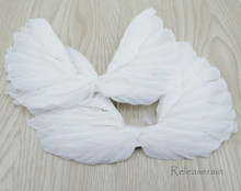"DIY Doll Craft Supplies 6.5""x5.5"" Handcrafted White Costume Turkey Feather Fairy Angel Wings Set of 2 Pieces For Dolls"