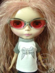 "Releaserain Doll Glasses Clear Blue Frame Pink Lens Sunglasses #A4 For 12"" Blythe Dolls"