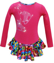 """Pink """"Peace & Stars"""" Ice Skating Dress with """"Pair of Skates"""" design"""