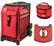 Zuca Sport Bag - Chili  with Gift Lunchbox and Seat Cover (Black Non-Flashing Wheels  Frame)