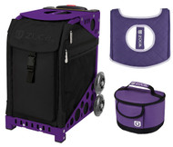 Zuca Sport Bag - Stealth with Gift Lunchbox and Seat Cover (Purple Frame)
