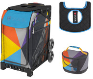 Zuca Sport Bag - Colorblock Party with Gift Lunchbox and Seat Cover (Black Frame)