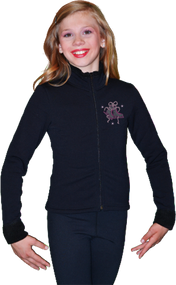 ChloeNoel J11 Solid Polar Fleece Fitted Figure Skating Jacket w/ Mini Fuchsia Ribbon Crystals