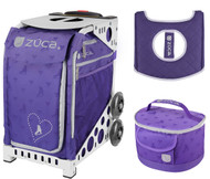 Zuca Sport Bag -  Skates & Bows with Gift Lunchbox and Seat Cover (White Frames)