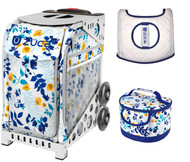 Zuca Sport Bag - Boho Floral  with Gift Lunchbox and Seat Cover (White Frames)