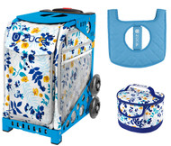 Zuca Sport Bag - Boho Floral  with Gift Lunchbox and Seat Cover (Blue Frames)