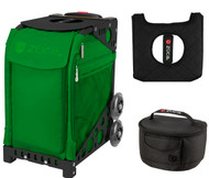 Zuca Sport Bag - Emerald with Gift Lunchbox and Seat Cover (Black Non-Flashing Wheels  Frames)