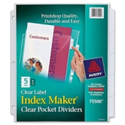 Avery Index Maker 5-Tab Clear Pocket View Dividers