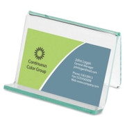 Lorell Acrylic Transparent Green Edge Business Card Holder