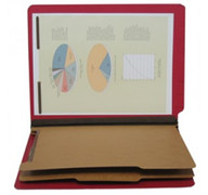 End Tab Pressboard Classification Folder - Ruby Red
