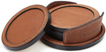 Korchmar Leather Coaster Set -  Brown