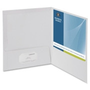 Business Source Two-Pocket Folders with Business Card Holder - 1