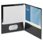 Business Source Two-Pocket Folders with Business Card Holder - 2