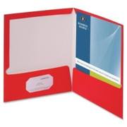 Business Source Two-Pocket Folders with Business Card Holder - 3