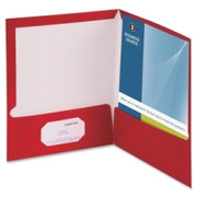 Business Source Two-Pocket Folders with Business Card Holder - 5