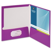 Business Source Two-Pocket Folders with Business Card Holder - 6