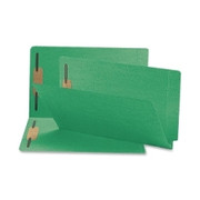 Smead 28140 Green End Tab Colored Fastener File Folders with Reinforced Tab