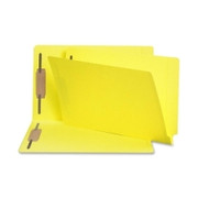 Smead 28940 Yellow End Tab Colored Fastener File Folders with Reinforced Tab